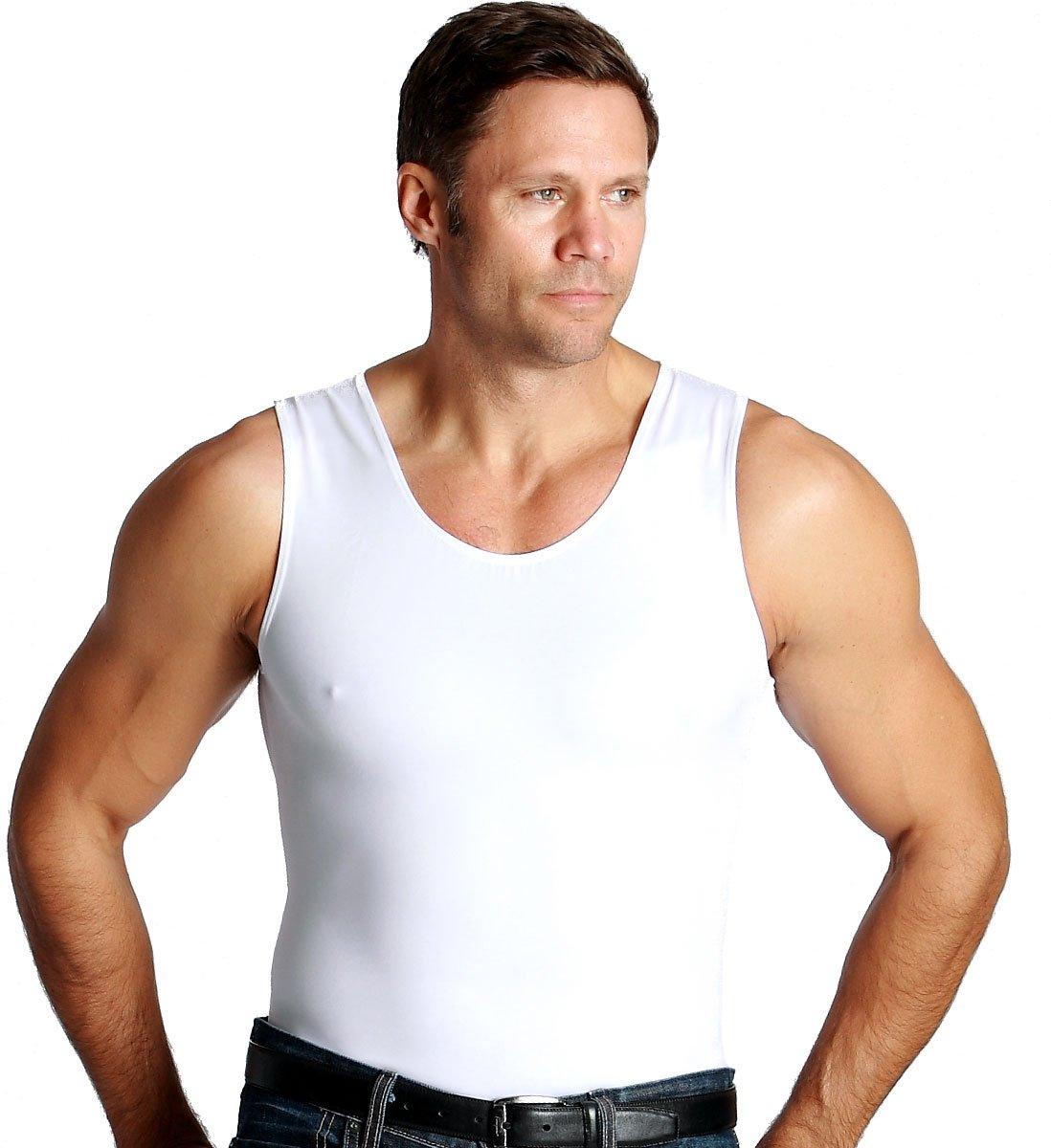 Insta Slim 3 Pack Men's Compression T-Shirts, White X-Large
