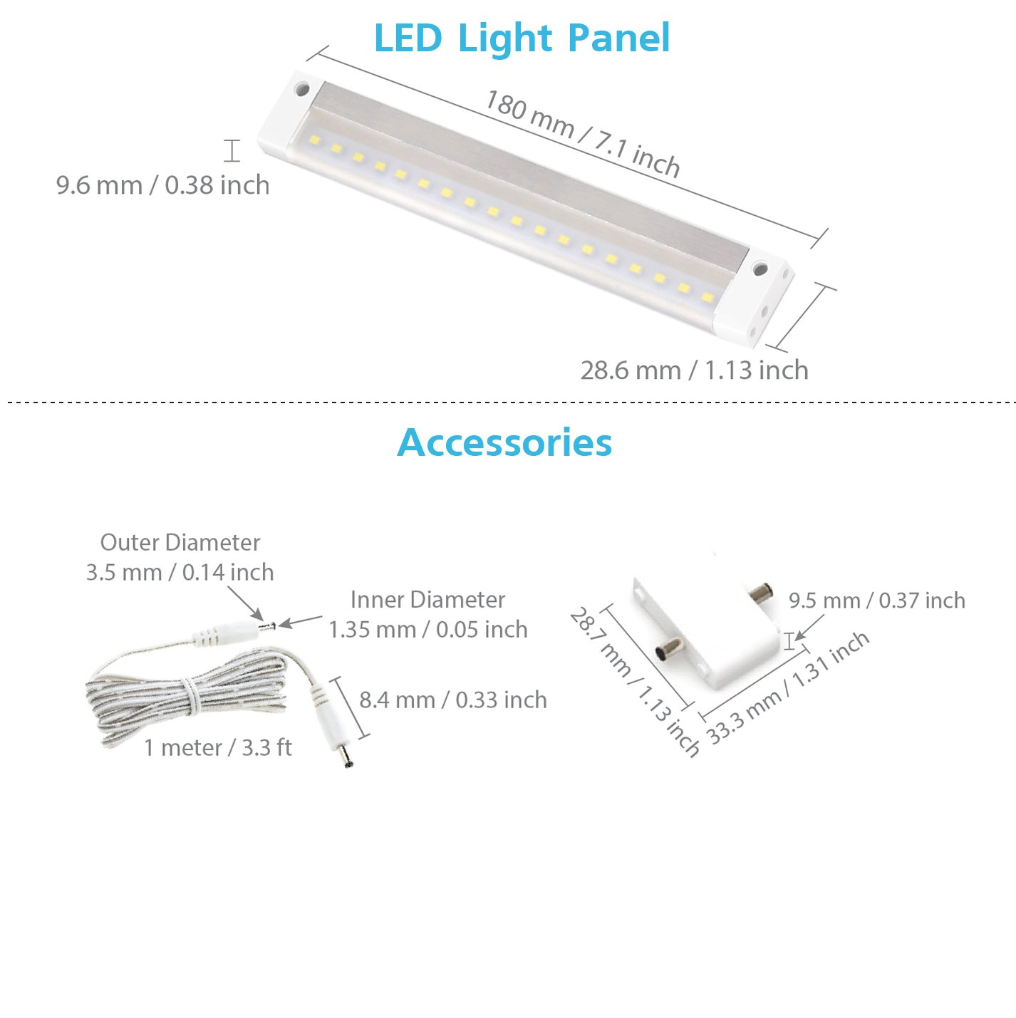 with Accessories EShine White Finish 12 inch LED Under Cabinet Lighting Bar Panel NO IR Sensor 3000K Warm White No Power Supply Included