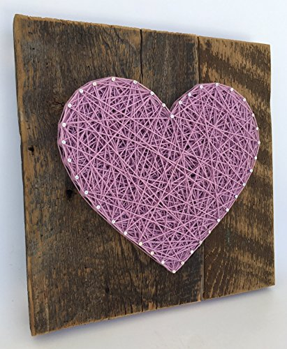Large reclaimed wooden Lavender string art heart sign -A unique gift for Weddings, Anniversaries,Birthdays, Valentine's Day, Christmas, new baby girl and house warming gift. (Teacher Gifts Christmas For Homemade)
