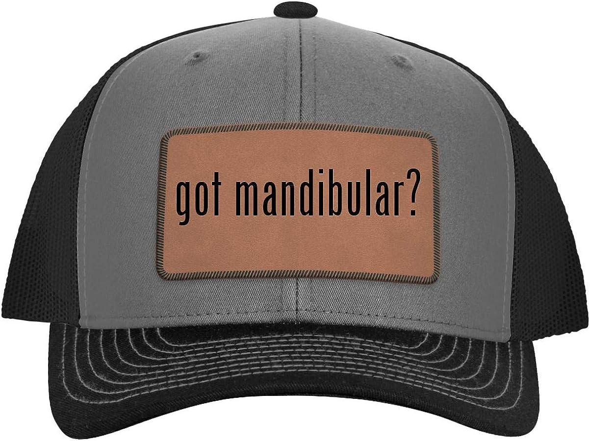 One Legging it Around got Mandibular? - Leather Dark Brown Patch Engraved Trucker Hat