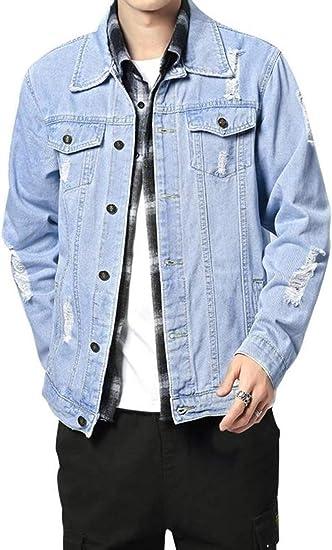 (BaLuoTe)メンズ デニム ジャケット コート メンズ 春秋 カジュアル デニムジャケット 長袖 オフタートル 着痩せ 細身 おしゃれ かっこいい 通勤 通学 デート 大きいサイズ