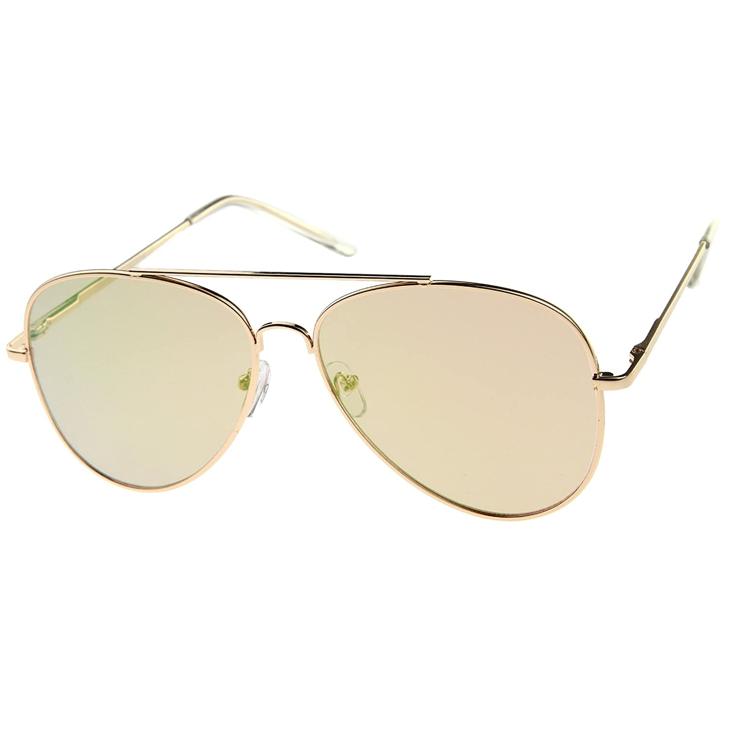 a6dd80e1f2 Amazon.com  Large Metal Rose Gold Frame Pink Mirror Flat Lens Aviator  Sunglasses 60mm (Gold Pink Mirror)  Clothing