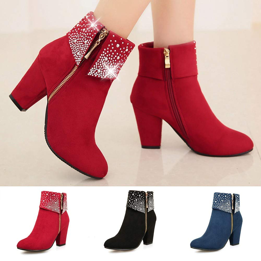 HTDBKDBK Fashion Women Crystal Thick Square Flock Ankle Zipper Warm Boots Round Toe Shoes Zipper Boots Womens Boots