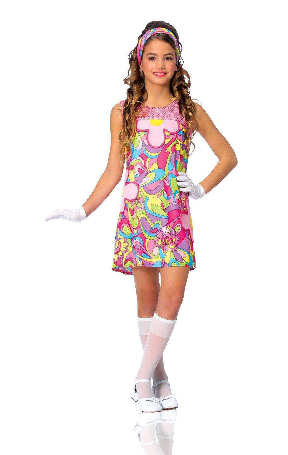 ce6fdefbab55 Amazon.com  Kids Girls Costume 60s 70s Groovy Girl Dress Outfit M ...