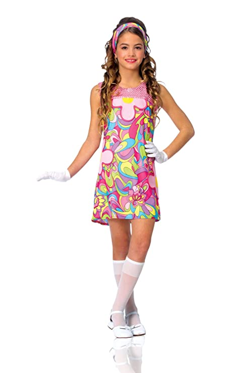 b362ce172d06 Amazon.com  Kids Girls Costume 60s 70s Groovy Girl Dress Outfit M Girls  Medium (US size 8-10)  Toys   Games