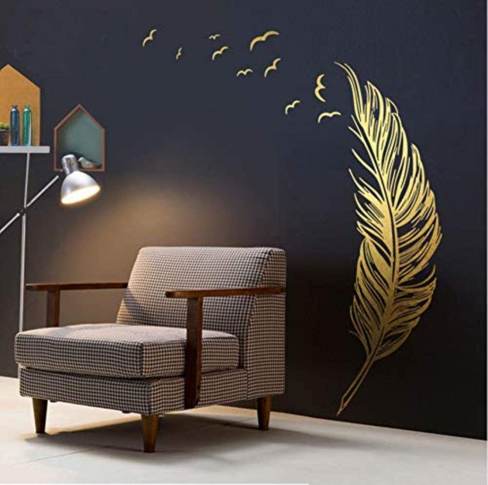 Grand gauche droite volant dor plume art sticker mural pour la d/écoration int/érieure bricolage personnalit/é murale chambre denfant d/écoration 138X172Cm