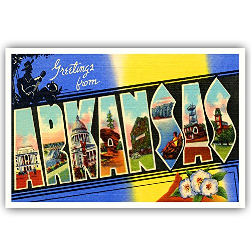 GREETINGS FROM ARKANSAS vintage reprint postcard set of 20 identical postcards. Large letter US state name post card pack (ca. 1930's-1940's). Made in USA.