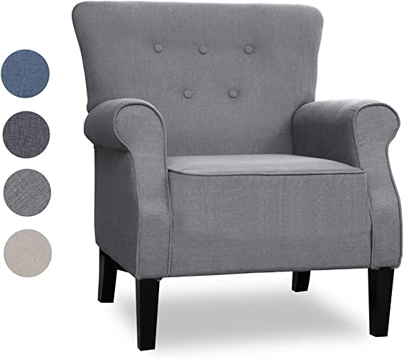Top Space Accent Chair Sofa Mid Century Upholstered Roy Arm Single Sofa Modern Comfy Furniture for Living Room