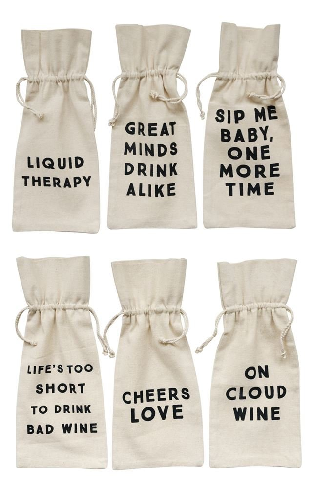 Heart of America 6 Assorted Cotton Wine Bags With Sayings - 12 Pieces
