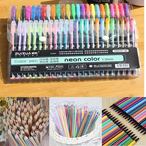 SUKEQ 48pcs Coloring Gel Refills Set, Glitter Metallic Pastel Fluorescence Neon Pen Ink Refills with Diamond Tip for Adult Coloring Books, Scrapbooking, Drawing, Dooling by SUKEQ (Image #4)