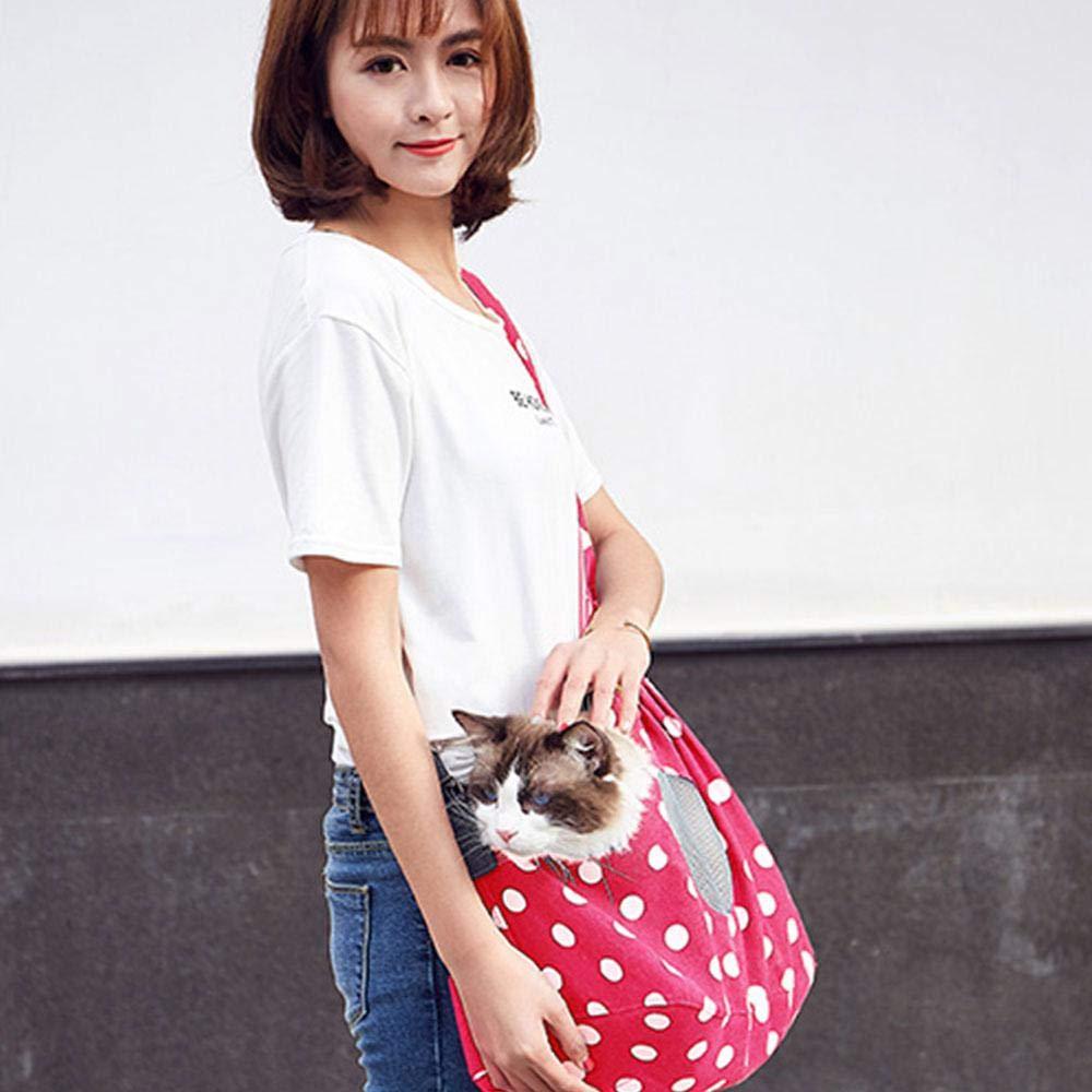 Pet Sling Carrier Bag Breathable Mesh,Wave Point KOBWA Canvas Pet Dog Cat Sling Carrier Tote Bag Adjustable Padded Shoulder Strap