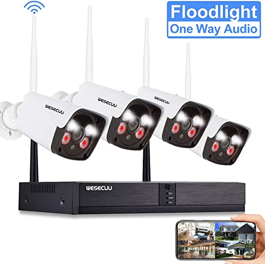 Expandable 8CH Wireless Security Camera System, WESECUU 3MP 8 Channel Surveillance NVR System,4PCS Outdoor WiFi Cameras with Floodlight,Color Night Vision,One Way Audio and AI Human Detection,No HDD
