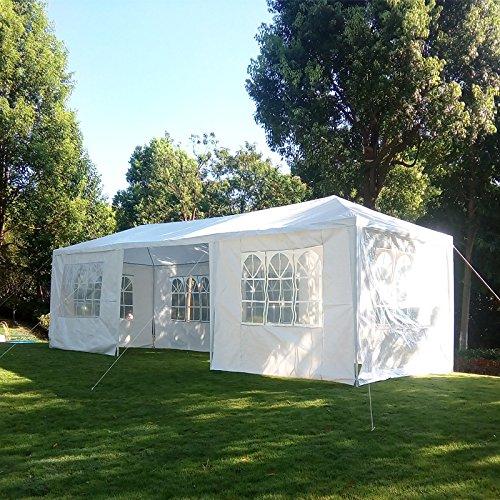 MCombo 10'x30' White Canopy Heavy duty Party Outdoor Gazebo Wedding Tent 7 Removable Walls 6053-W1030w-7PC (Party Carport)