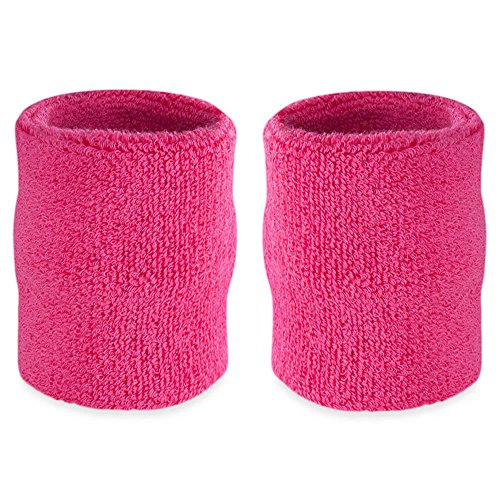 Suddora 4' Inch Sport Arm Sweatbands - Athletic Cotton Armbands Pair (Neon Pink) (Pink Armband)