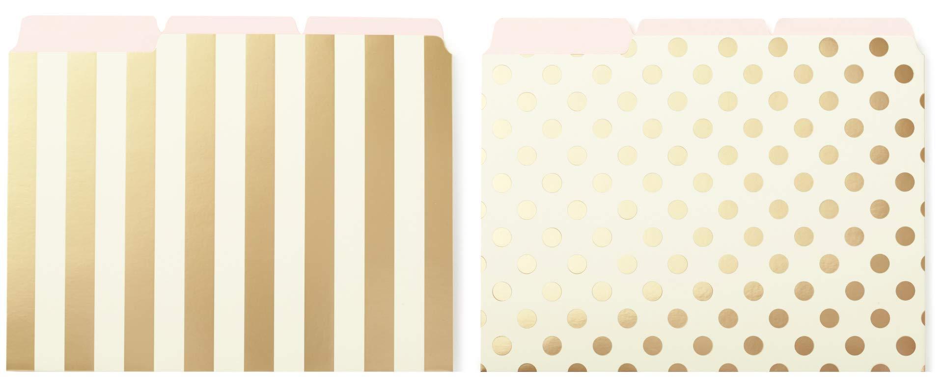 Bundle - Kate Spade New York File Folders Gold Stripe Set of 6 and Gold Dot Set of 6 by Kate Spade New York