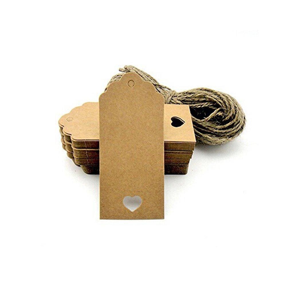 40mm Kraft carta regalo regalo di Natale Tag Tag matrimonio rettangolo marrone Kraft Hang Tags Bonbonniere favore etichette del regalo con 10 metri lungo per mestieri prezzo Tag etichette Pixnor 100pz 90