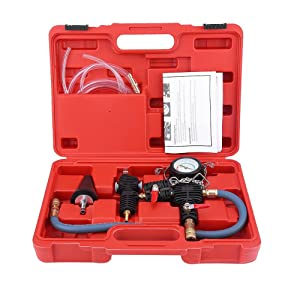 Vacuum Coolant Refill Tool,Cooling System Vacuum Purge and Coolant Refill Kit Vacuum Purge Quickly Refill Kit with Universal Adaptor and Carry Box for Car SUV Van