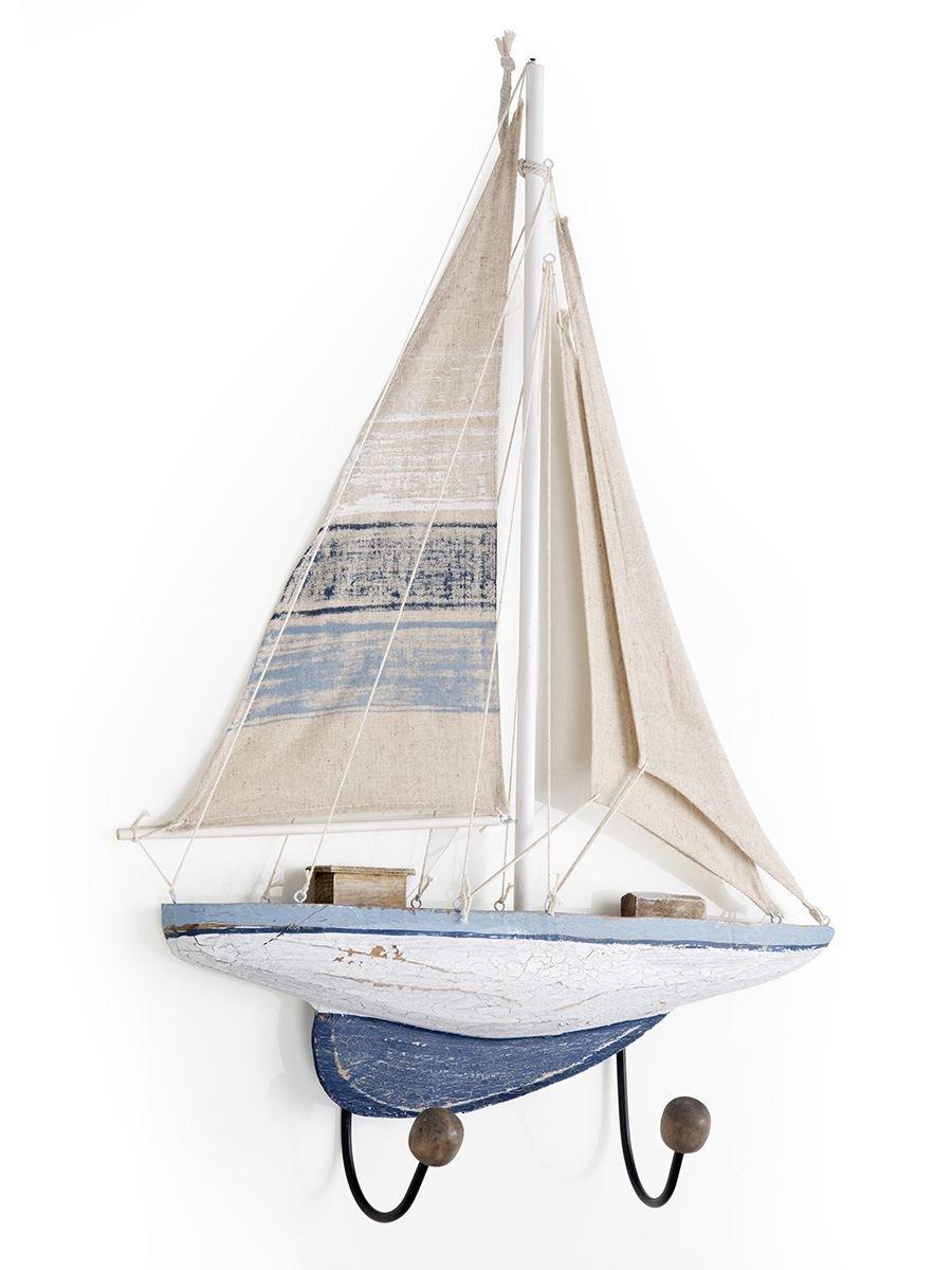 Attaccapanni Mare con Barca a Vela 2 Ganci in Ferro 43X9.5X64 cm Variante unica MainApps Montemaggi
