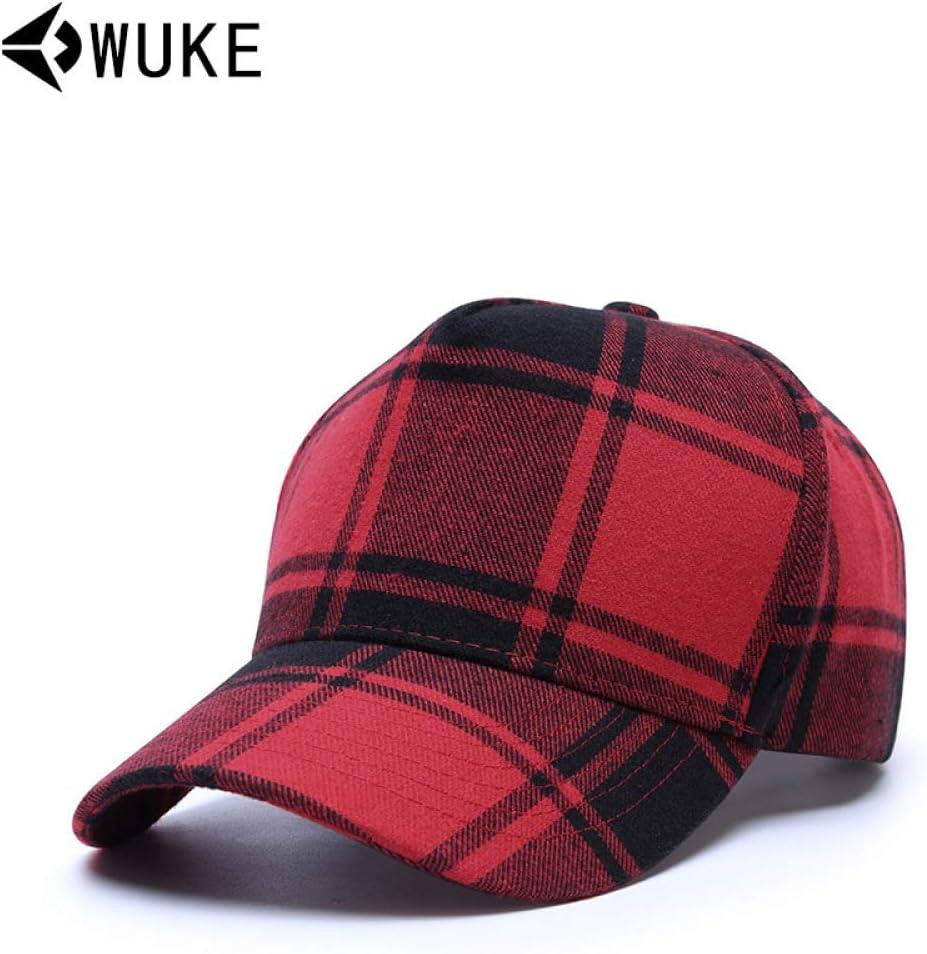 sdssup Gorra de béisbol de Cuadros Rojos Negros de algodón Cuadros ...