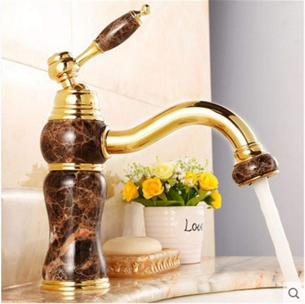 C Oudan European Natural Jade golden Basin Taps All Copper Single Hole Hot and Cold Audience Basin Single Faucet in The Bathroom Cabinet C (color   B, Size   -)