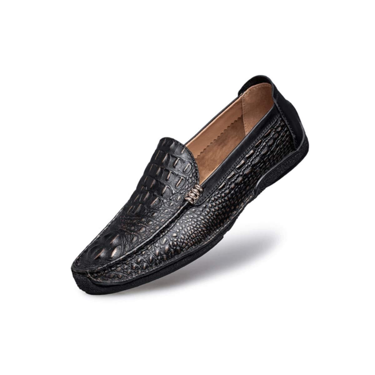 noir 44EU MUZIWENJU Chaussures de Sport for Hommes, Chaussures de Conduite en Cuir à Surface Souple, Chaussures de Sport à Talons Plats, Chaussures de Sport Tout Confort en Cuir, (Trois Couleurs en Option)
