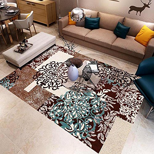 huge living room rugs. MAXYOYO Brown Floral Printing Carpet Rug Living Room Square Area Huge Rugs for  Amazon com
