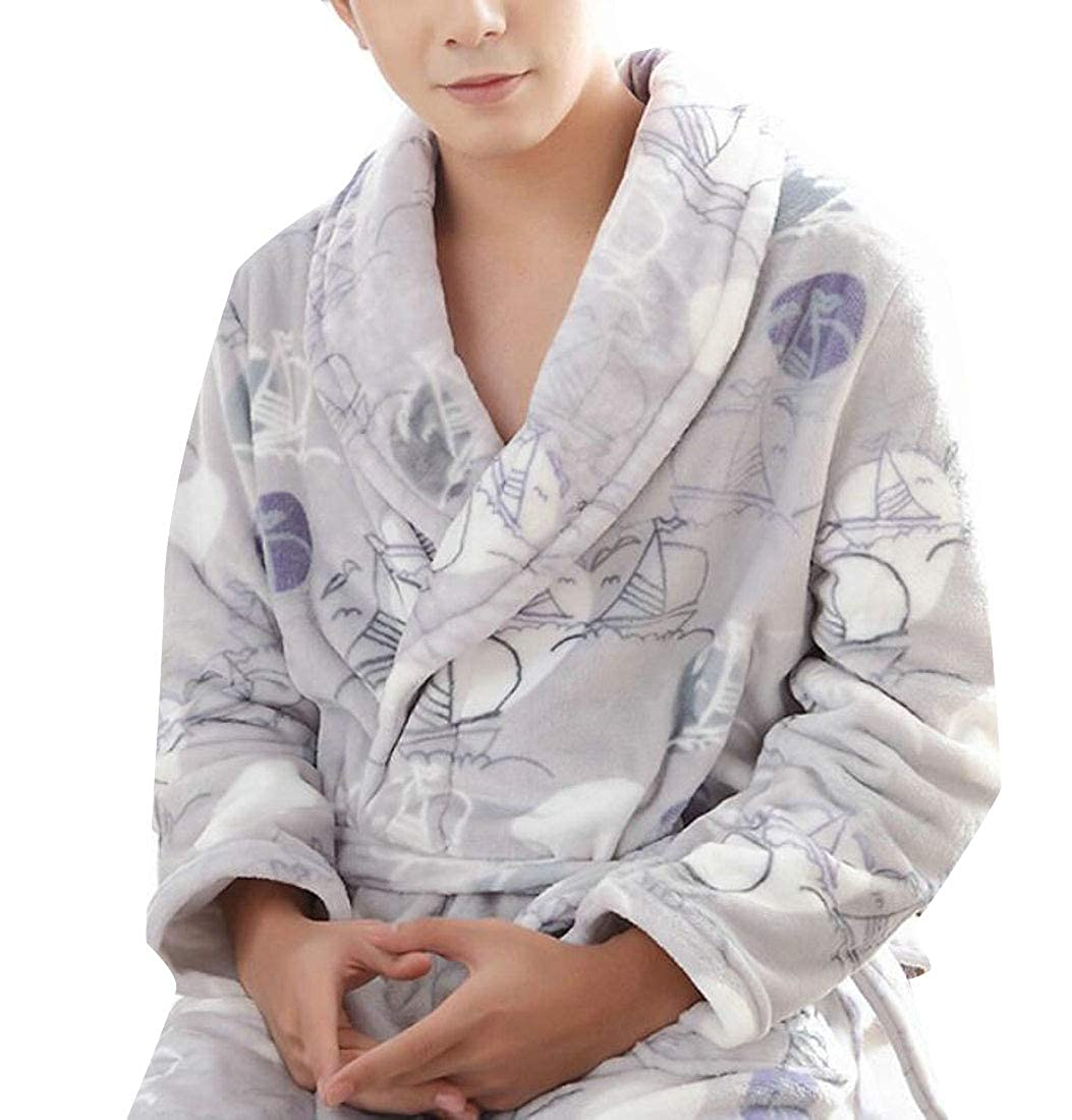 Rrive Men Flannel Thick Nightgown Robe Kimono Belted Shawl Collar Bathrobe
