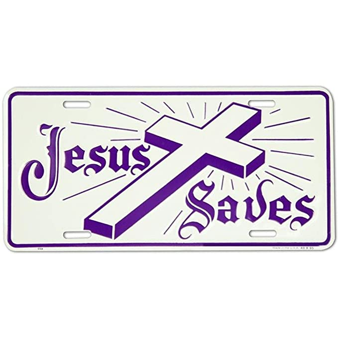Signs 4 Fun SLJ58 Jesus Saves-Cross License Plate