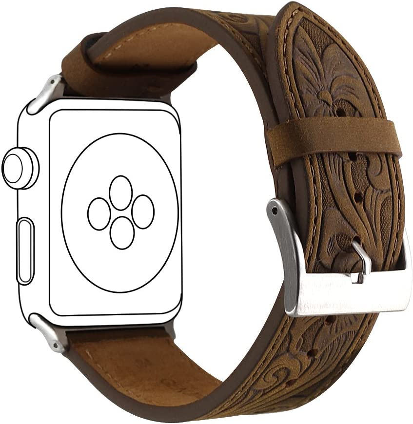 Ezzdo Band For Apple Watch Band 44mm 42mm, Leather Carved Handmade Bump Retro Genuine Leather Flower Replacement Strap For Men Women Brown Bracelet For Iwatch 44mm Series 6 SE 5 4 3 2 1 (Retro Brown 42mm)