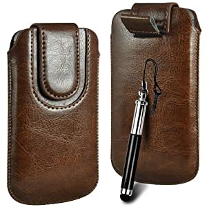 Tire N4U línea superior de la PU del cuero del tirón del caso Tab cubierta de bolsa Con magnética Cierre de correa y Retractable Stylus Pen Para Sony Xperia V - Marrón
