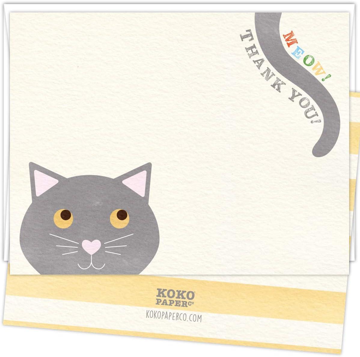 코코 페이퍼 코 야옹  감사합니다  고양이 는 당신에게 카드를 감사합니다. 25 장의 카드와 흰색 봉투 세트. 푸르 -FECT 방법 감사합니다 말을