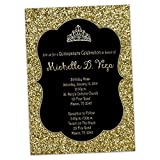 Black Gold Glitter Sweet 16 Invitations Princess Tiara Birthday