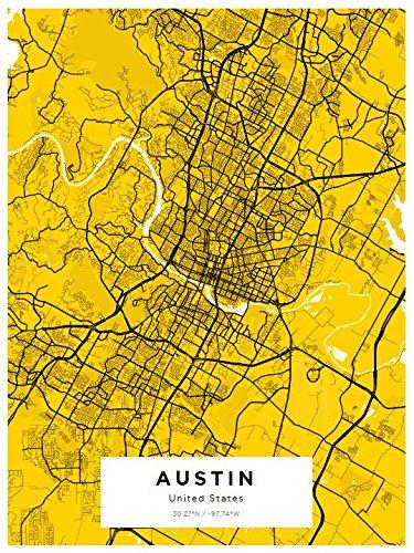 Amazon.com: YourOwnMaps - Austin City Street Map Wall Art Print ...
