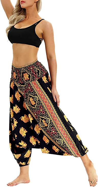 Retro Women/'s Enthnic Stylish Casual Quilted Pants Printed Mixed Color Trousers