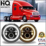 7 Inch Round LED Headlight DRL Headlamp Angel Eyes Cool White Amber Signal Halo Ring Hi/Lo Beam H4 H13 for Kenworth T2000 1998-2009 - 6012/6014/6015/H6017/H6024 - 2 Year Warranty US Ship (Pair)