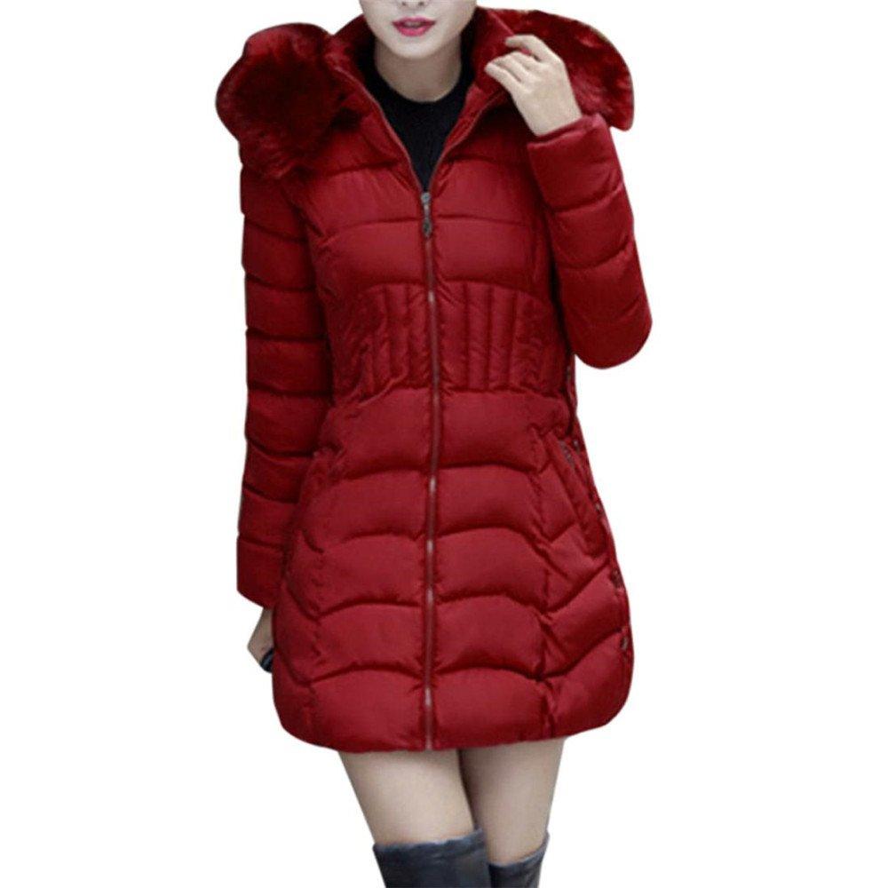 Womens Overcoat, FIRERO Fashion Winter Womens Long Jacket Warm Cotton Slim Coat Parka Trench Outwear (Wine-red, L)