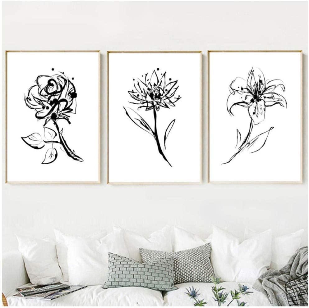 Amazon Com Dayanzai Nordic Minimalism Black White Flower Wall Art Canvas Posters And Prints Painting Pictures For Living Room Kids Decor 40x50cmx3pcs No Frame