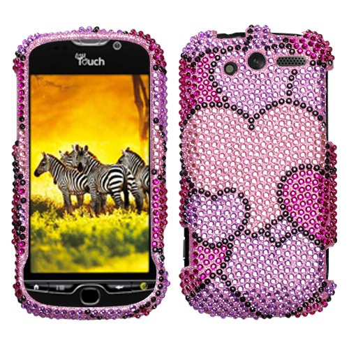 Hard Plastic Snap on Cover Fits HTC Mytouch 4G Cloudy Hearts Full Diamond/Rhinestone