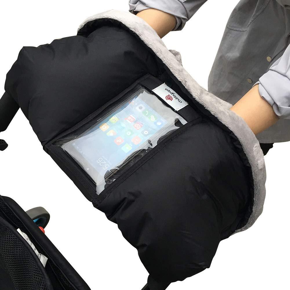 MINGPINHUIUS Stroller Gloves with 2pcs Stroller Hooks Winter Water Resistant Anti-Freeze Fleece Hand Muff in Baby Stroller Pram Gifts for Moms Parents Black