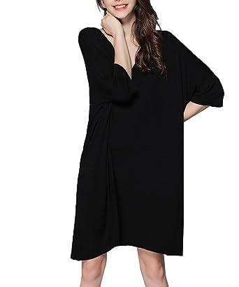 ee7567721f Kedera Womens Nightshirt Super Soft Viscose Sleep Shirt Solid Color V Neck Sleeveless  Nightgown (Small