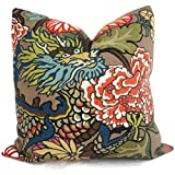 Mocha Chiang Mai Dragon Decorative Pillow Cover made with Schumacher Designer Fabric
