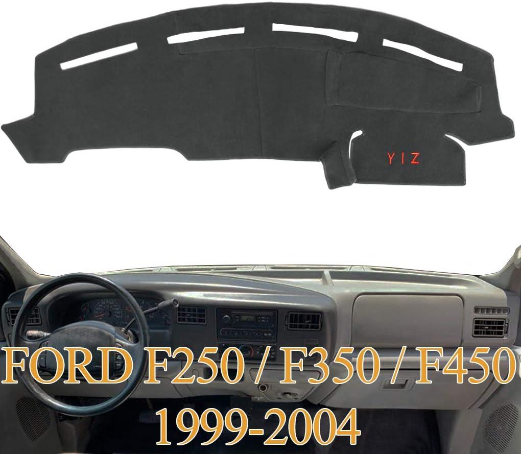 Yiz Dashboard Cover Dash Cover Mat Pad Carpet Custom Fit for Ford F250 F350 F450 Super Duty 1999 2000 2001 2002 2003 2004 (Black) Y72