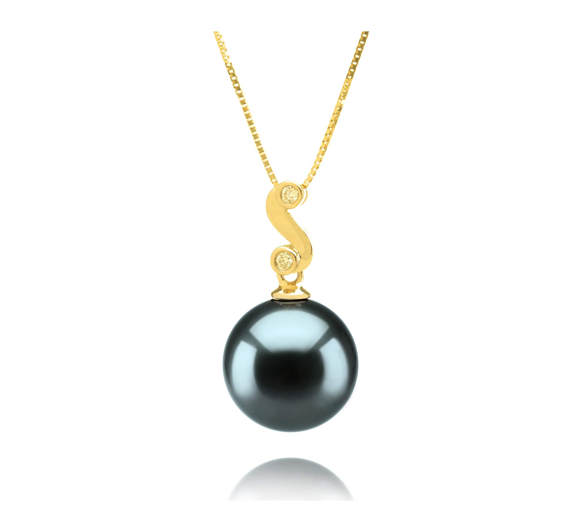 Gisela Black 10-11mm AAA Quality Tahitian 14K Yellow Gold Cultured Pearl Pendant For Women