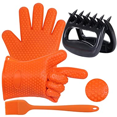 Ostrichy Meat Claws, BBQ Basting Brush, Silicone Oven Mitts, Grill, Cooking and Smoker Accessories 3 Sets with Bear Claws Meat Shredder, Pot Holders, and Resistant BBQ Brush - Supper Value Premium Set