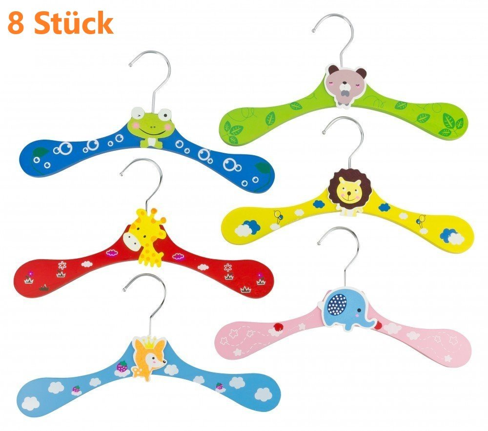 kompassswc bambini grucce Catoon animale motivi grucce in legno colorato antiscivolo Pantaloni casuale colore e modello