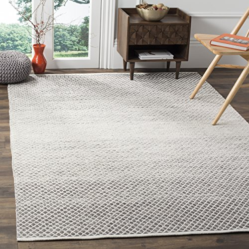 Pattern Woven Rug - Safavieh Montauk Collection MTK601K Handmade Flatweave Light Grey and Ivory Cotton Area Rug (8' x 10')