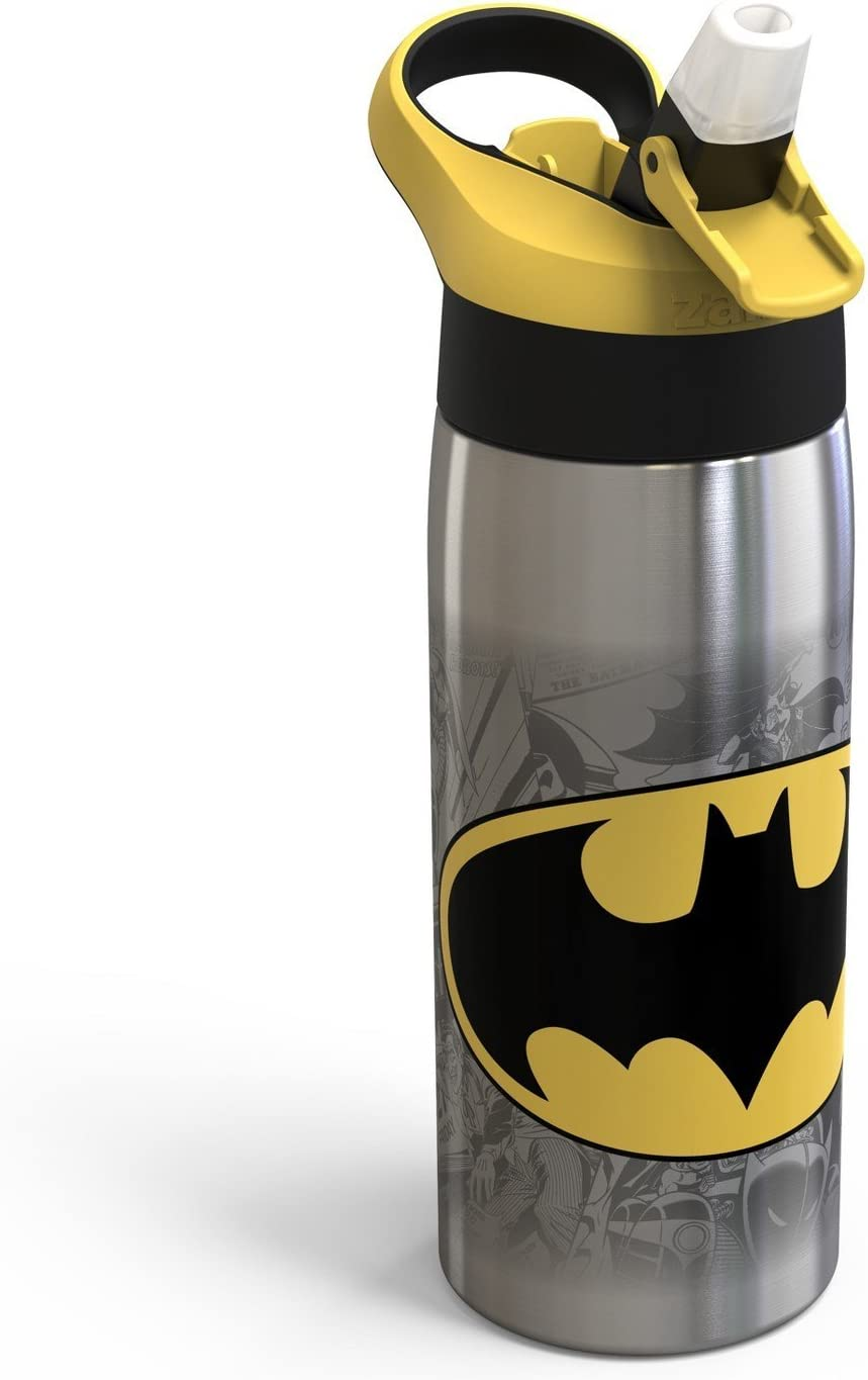 Amazon Com Dc Comics Batman Zak Designs 20oz Stainless Steel Water Bottle Yellow Black Kitchen Dining