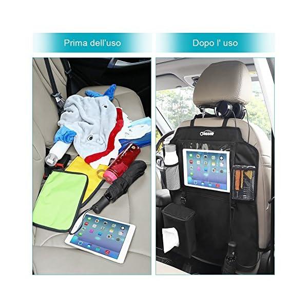 Oasser Protezione Sedili Auto Bambini 2pcs Proteggi Sedile Organizzatore Sedile Posteriore Impermeabile Supporto 7