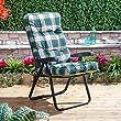 Alfresia Luxury Garden Recliner Chair Cushion in Green Check