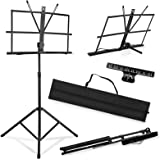 HOHIYO Music Stand Adjustable Height, Reinforce Foldable Sheet Music Holder with Clip and Carrying Bag
